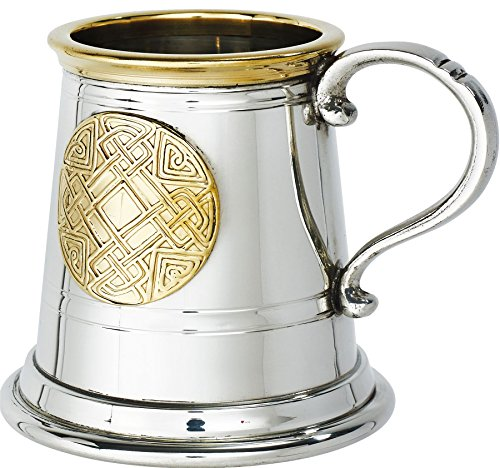 Pewter Christening Cup - iLuv Christening Gift Tankard 1/4 Pint Celtic Gold Brass Rim and Round Insert Baby Mug Pewter Cup Engraving Available
