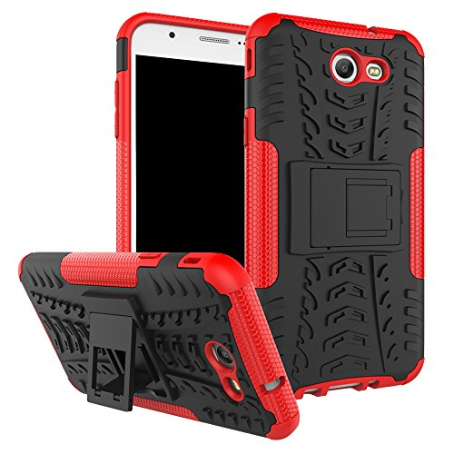 Galaxy J7 V Case, Galaxy J7 Prime, Galaxy Halo, Galaxy J7 Perx, Galaxy J7 Sky Pro, Galaxy J7 2017, KMISS Hybrid Heavy Duty Armor Protection Cover [Anti Slip] [Built-In Kickstand] Skin Case (Red)