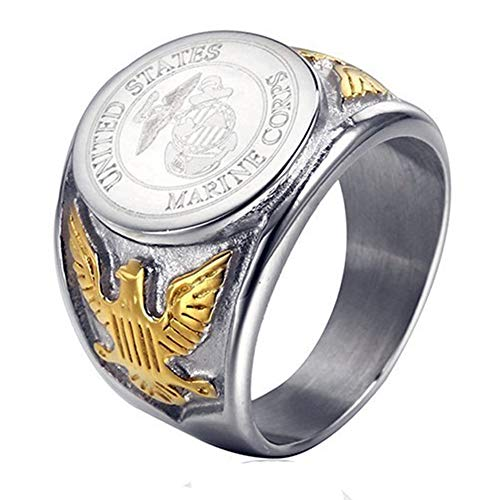 JAJAFOOK Vintage Titanium Steel US Military Marine Corps Ring Eagle Medal Rings for Men, Silver/Gold/Black (Silver-Gold, 9)