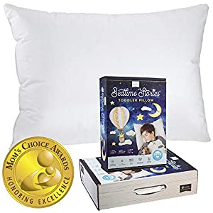 Bedtime Stories Toddler Pillow – 800 Fill Power Goose Down – 300 Thread Count 100% Cotton Cover (13″X18″) – Made in USA