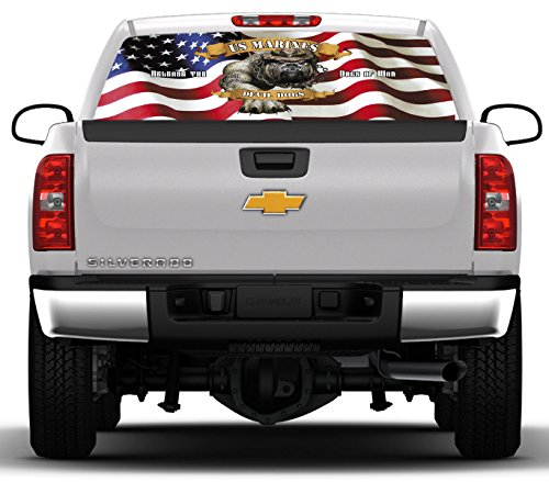 USMC Devil Dogs #3- 22 inches- by- 65 inches- Rear Window Graphic-(PLEASE MEASURE YOUR WINDOW PRIOR TO ()