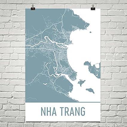 Nha Trang Vietnam Map.Amazon Com Modern Map Art Nha Trang Map Nha Trang Art Nha Trang