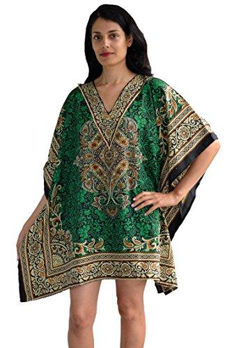 - Sante Classics Women's Taj Border Poly Microfiber Short Caftan One Size Green