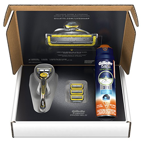 - Gillette Fusion ProShield Bundle with 1 Razor Handle with Flexball Technology + 4 Razor Blade Refills + 1 Ocean Breeze Shave Gel, Mens Razors / Blades