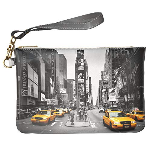 Lex Altern Makeup Bag 9.5 x 6 inch Monochrome New York Street America Yellow Taxi Travel PU Leather Case Toiletry Women Zipper Organizer Storage Wristband Girly Accessories Print Purse Pouch Cosmetic