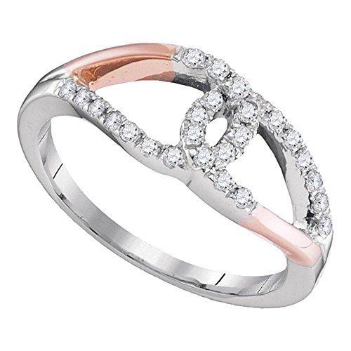 - 10kt Two-tone White Rose Gold Womens Round Diamond Loop Lasso Knot Band Ring 1/4 Cttw