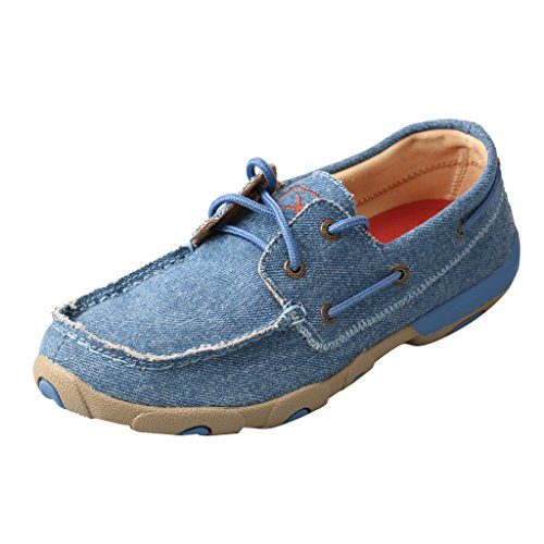 Twisted X Boots WDM0049 Women's Driving Moccasins Loafers, Denim Canvas - 8 (Denim Canvas Footwear)
