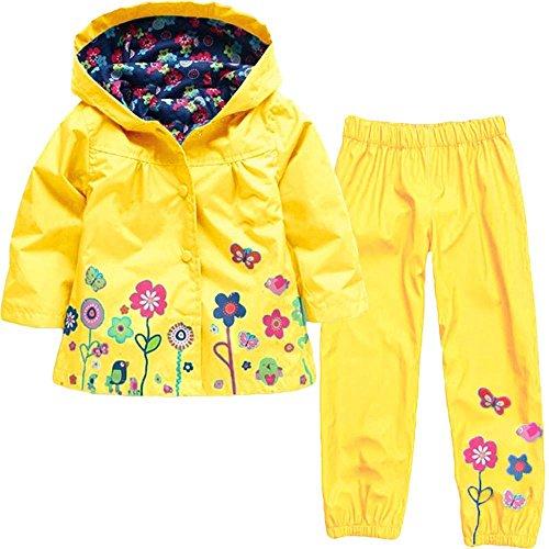 (Wennikids Baby Girl Kid Waterproof Floral Hooded Coat Jacket Outwear Raincoat Hoodies Clothing Set X-Large Yellow )