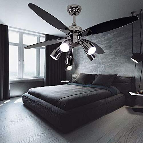 Andersonlight Fan Modern Black Ceiling Fan With 5 Rotatable Light Set, Remote Control, Indoor Quiet Fan Chandelier, 48-inch