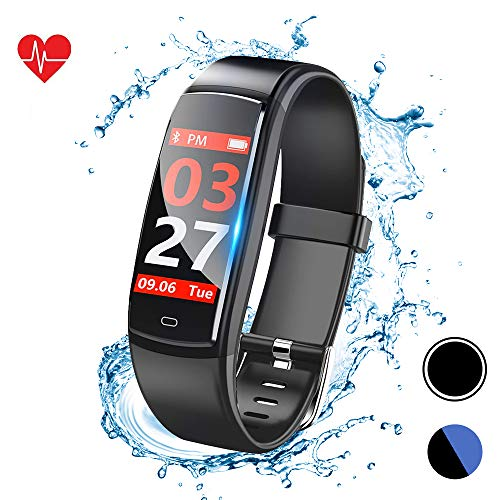 Fitness Tracker, Activity Tracker Watch with Heart Rate Monitor, Fitness Watch with Message Reminder and Step Counter, Smart Bracelet with Sleep Monitor and Blood Pressure (Y9-bb)