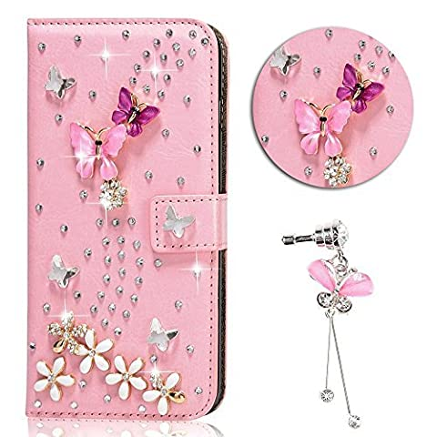 iPhone 5 5S SE Case, Sunroyal Handmade Magnet Diamond Flip DIY 3D Bling Pearl Rhinestone Floral Sparkling Leather Cover Stand Pouch Wallet Phone Case+ Pink Crystal Butterfly Dustproof Accessories (Flip Cover Iphone 5 Bling)