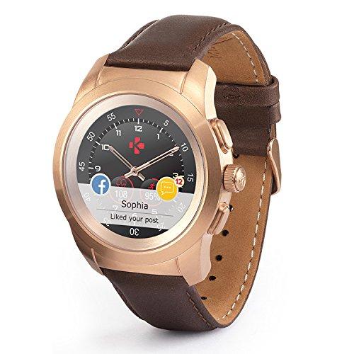 MyKronoz ZeTime Original reloj inteligente híbrido 44mm con agujas mecánicas sobre una pantalla a color táctil �?Regular Cepillado Plateado / Silicona Negra Cepillado oro rosa y cuero marrón