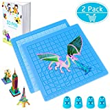 3D Printing Pen Mat, Splaks 2 Pack Silicone Design Mat Basic Template, Larger Heat Resistant 3D Pen Mat Drawing Tools with 3D Pen Book, 4 Silicone Finger Caps