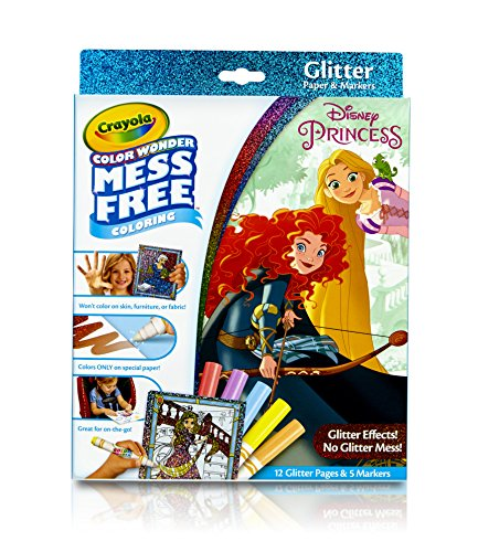 Crayola 75-2445 Color Wonder Disney Princess Glitter Coloring Pages & Markers Set Art Gift for Kids & Toddlers 3 & Up