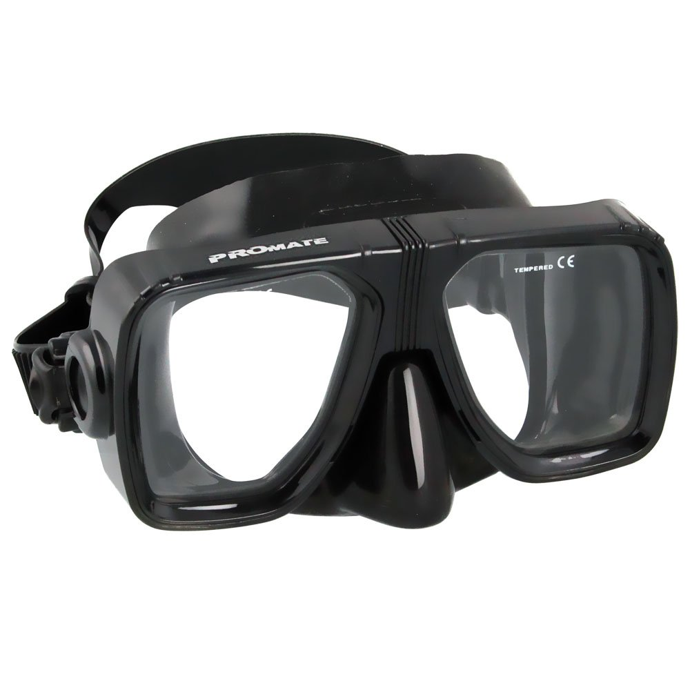 Promate 2-Window Snorkel Mask Snorkeling, AllBlack, NoCorrection by Promate