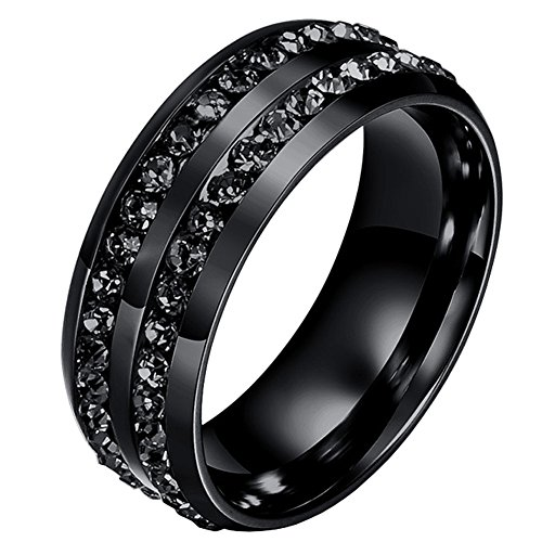 Mens Wedding Bands Classic 8MM Titanium Stainless Steel Plated 18K Black Tungsten Gold Double Row CZ Crystal Womens Promise Anniversary Rings High Polished Finish Comfort Fit Size 9