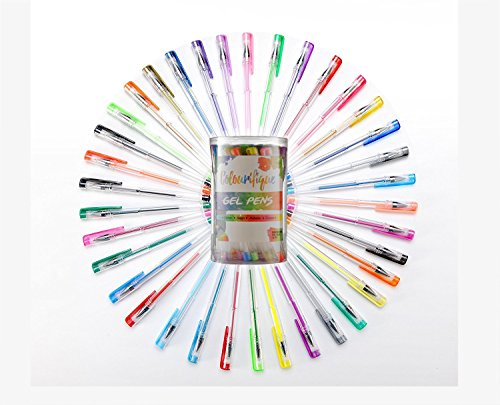 36 Gel Pen Set For Adult Colouring Books: 36 Unique Gelly Roll Pens Including 12 Glitter Pens 10 Metallic Pens 6 Neon Pens 6 Pastel Pens. Perfectly Smooth Ink Flow Acid Free Fast Drying.