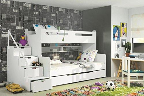 Etagenbett Max 3 weiß 200/80cm und 200/120cm + Matratze inkl.