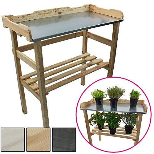 Mesa de madera para jardineria 82 x 78 x 38 cm - Mesa para el jardin de germinacion de madera FSC® impregnada y superficie de trabajo de metal galvanizado, Color:Natural