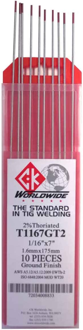 "TECHNIWELD USA 1//16/"" X 7/"" 2/% THORIATED TUNGSTEN ELECTRODE 10//PACKAGE"