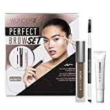 WUNDER2 PERFECT BROW SET- WunderBrow Eyebrow Gel, WunderCleanse & Dual Precision Brush, Brunette