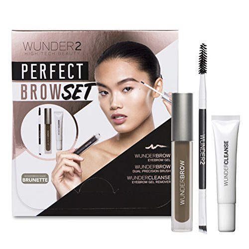 WUNDER2 PERFECT BROW SET- WunderBrow Eyebrow Gel, WunderCleanse & Dual Precision Brush, Brunette by Wunder2