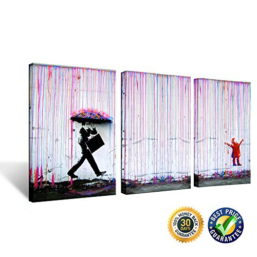 April Art Banksy Pictures Colorful Rain Painting on Canvas Prints Wall Art Images Home Decoration Framed Poster Stencil Graffiti Mural Super Size Print (Print Art Deco Canvas)