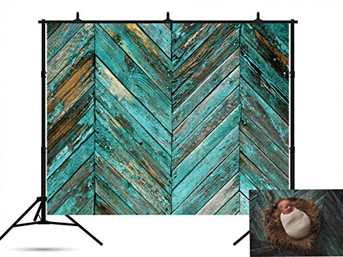 7x5ft Vintage Old Wood Wall Photo Booth Prop Backdrops Retro Blue Wooden Photography Prop Hardwood V-Shaped Abstract Wood Background for Picture -