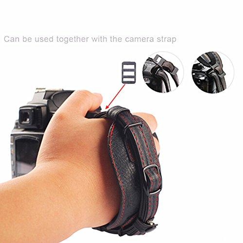 Digital Camera Leather Wrist Strap Hand Grip Band with Metal Quick-release Plate, Working with Canon/ Sony/ Pentax/ Minolta/ Panasonic/ Olympus/ Kodak/ SLR/ DSLR, Black