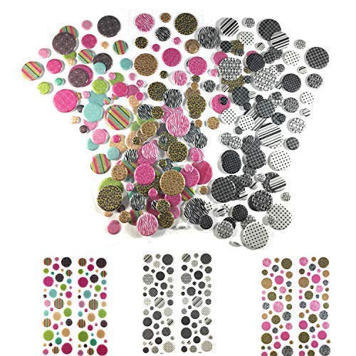 240 Piece! 3D Mini Adhesive Dots | Scrapbook Stickers - Planner Stickers | Animal, Black & White & Kaleidoscope | Card Making, Scrapbooking, Kids Crafts & Planner Dots | 3D Scrapbook Stickers Pop Dots ()