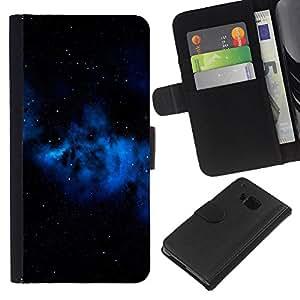 KLONGSHOP // Tirón de la caja Cartera de cuero con ranuras para tarjetas - Espacio Azul Galaxy Gas Nube Estrellas Universo - HTC One M9 //
