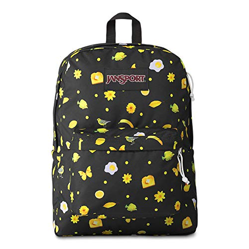 JanSport Black Label Superbreak Backpack - Lightweight School Bag | Hello Yellow Print