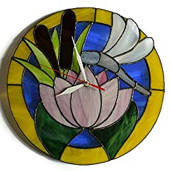 Dragonfly Wall Clock, Round Stained Glass Nature Home Accent 12''