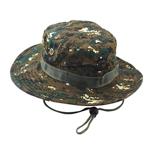 Yeefant Adjustable Cap Camo Fishing Mountaineering Camouflage Hats Mens Fisherman Mesh Hat Basin, Hat Width 2.6 Inch,Hat Circumference 23 Inch,Digital Camo