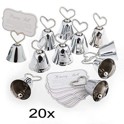 The Wedding Bell (JZK 20 Sliver Bell Wedding Kissing Bell Card Holder Photo Holder memo Holder Place Holder for Wedding Birthday Baby Shower Christmas)