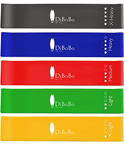 DiBoBo Heavy-Duty Workout Loop Resistance Bands for Men and Women (Set of 5) – Muscle Toning, Strength Training and Yoga Fitness at Gym or Home