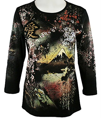 Cactus Fashion - Sakura, 3/4 Sleeve, Scoop Neck Cotton Print Rhinestone Top