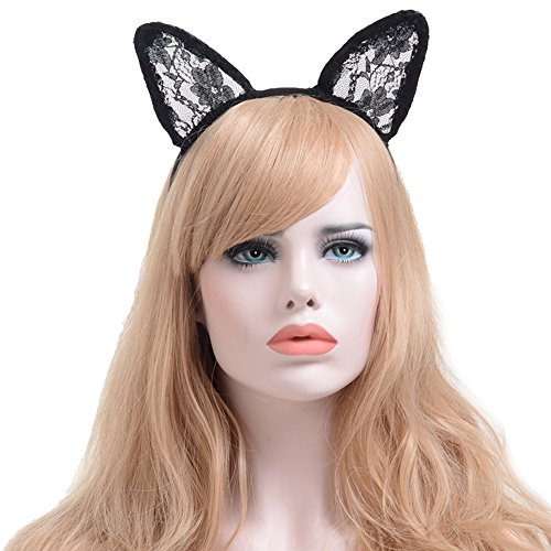 Price comparison product image Alled Lace Cat Ears Hairband Headband for Kids & Adults Fancy Dress Costume Halloween Christmas Party Cosplay (Lace Cat Ears)