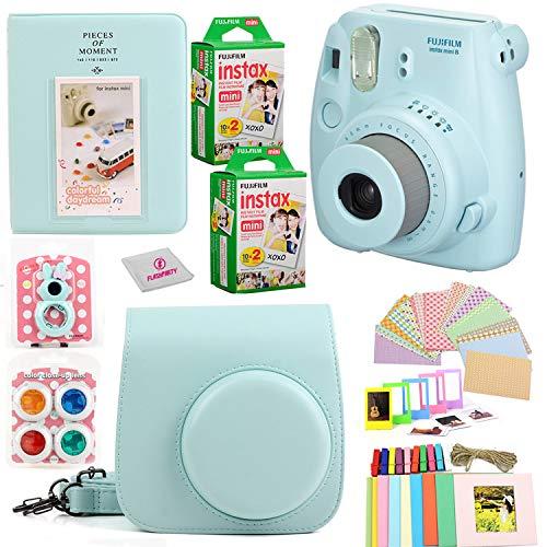 Fujifilm Instax Mini 9 Instant Fuji Camera (ICE Blue) + Case + Instant Mini 9 Film 40 Pack + Accessories Bundle: Colorful Picture Frames + Decorative Stickers + Selfie Mirror + Photo Album & More.