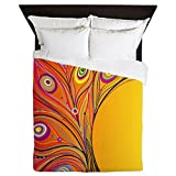 CafePress - Fantasy Peacock Feather Design - Queen Duvet Cover, Printed Comforter Cover, Unique Bedding, Microfiber
