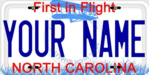 - BleuReign(TM) Personalized Custom Name North Carolina State Car Vehicle License Plate Auto Tag (ALL STATES AVAILABLE)