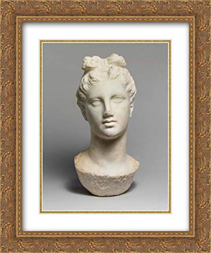 Greek, Attic Culture - 20x24 Gold Ornate Frame and Double Matted Museum Art Print - Marble Head of a Young Woman from a funerary Statue