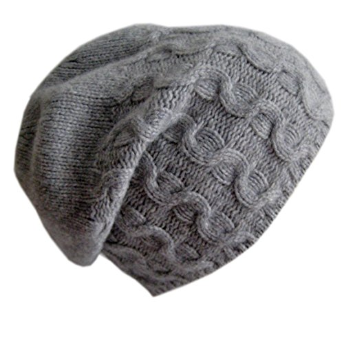 Frost Hats Luxurious Cashmere Slouchy Cable Beanie CSH-735 Gray