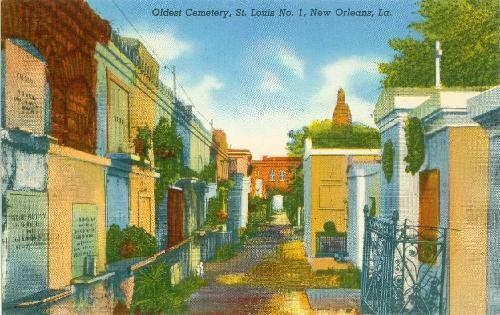 Postcard Oldest Cemetery 1 New Orleans Louisiana 79 Ships from USA - Cemetery Postcard