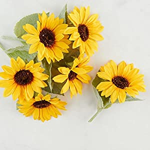 Factory Direct Craft Artificial Bright Sunflower Picks - 6 Picks 28