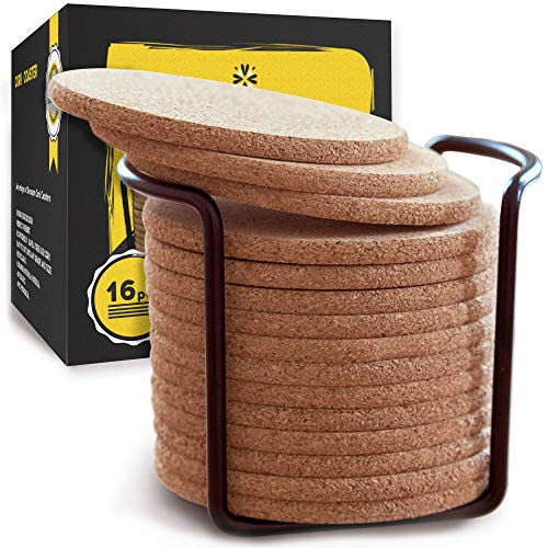 "- Natural Cork Coasters With Round Edge 4"" 16pc Set with Metal Holder Storage Caddy – 1/5"" Thick, Absorbent, Eco-Friendly, Heat-Resistant, Reusable Saucers for Cold Drinks, Wine Glasses, Cups & Mugs"