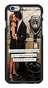Cute Romantic Couple Kiss Snap-On Cover Hard Plastic Case for iPhone 6 (Black)