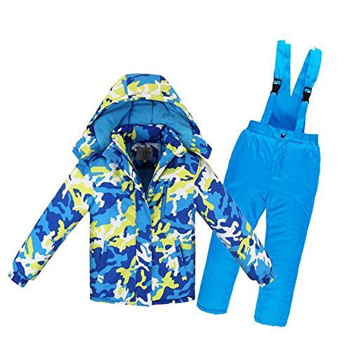 Giacca Set Sport Invernali Vestiti addensati 8A Camouflage Blu e Giallo Zantec Set da Sci Bambino,Unisex,Ragazzi//Ragazze Tuta da Sci Impermeabile Pantaloni Height 130cm