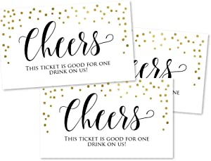 50 Gold Formal Elegant Drink Ticket Coupons for a Free Drink at Weddings, Work Events or Party Bar, One Free Beer Wine Alcohol Soft Drink or Food Vouchers, Cheers Large Drinking Paper Raffle Cards