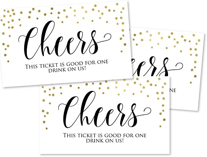 RXBC2011 100 Free Drink Tickets Coupons for a Free Drink Wedding Christmas Work Event Party Bar Navy